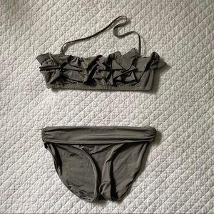 J. Crew Jersey Lomellina Gray Foldover Bikini - S